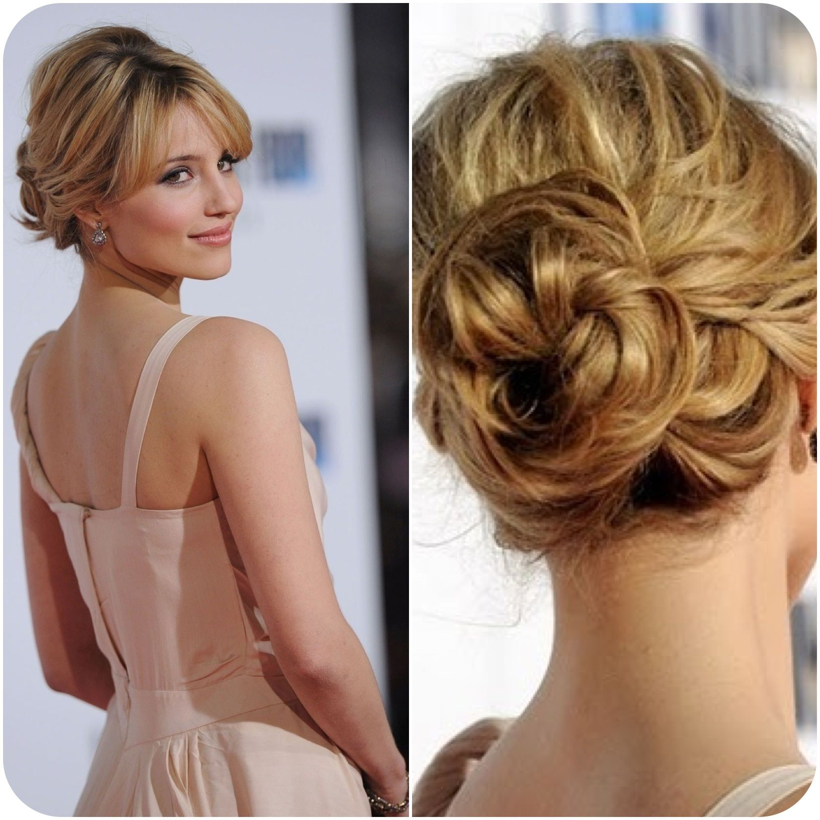 Dianna Agron Romantic Updo With Bangs Hair Pinterest Wedding