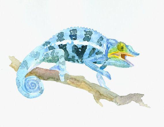 Chameleon Art original watercolor painting 10 X 8 by ORIGINALONLY