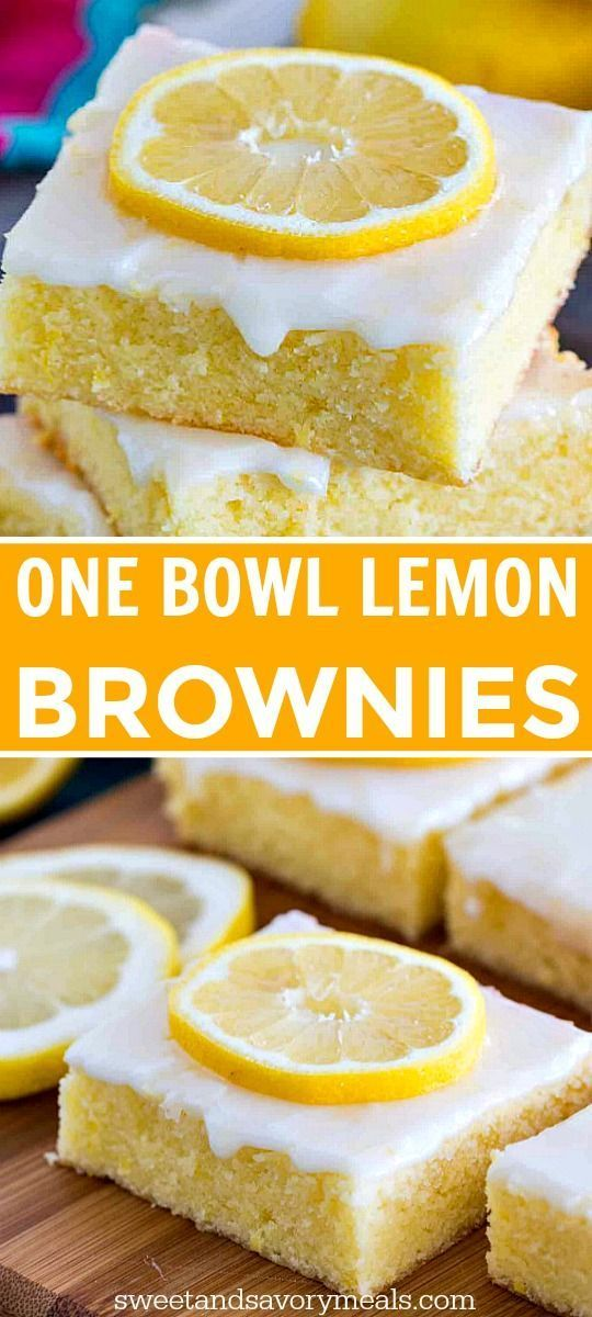 One Bowl Lemon Brownies are so buttery and full of fresh lemon flavor. They are easy to make with fresh lemon juice, lemon zest and topped with lemon glaze.
