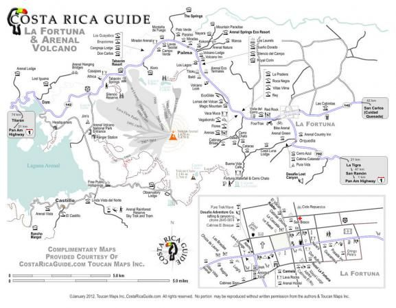 photograph regarding Printable Map of Costa Rica called Extensive printable map of La Fortuna and the Arenal Volcano