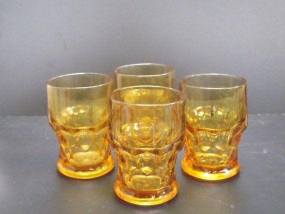 Vintage Set of four amber drinking glasses by ShabbyFrenchShack