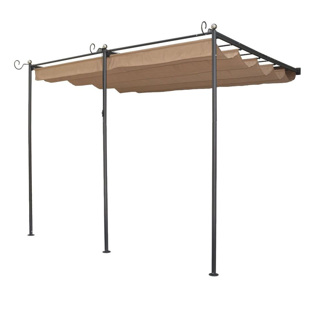 Wall Mounted Sun Canopy Retractable Fabric Shade Entertain Patio Fast Shipping Rowlinson Aluminum Pergola Steel Pergola Metal Pergola
