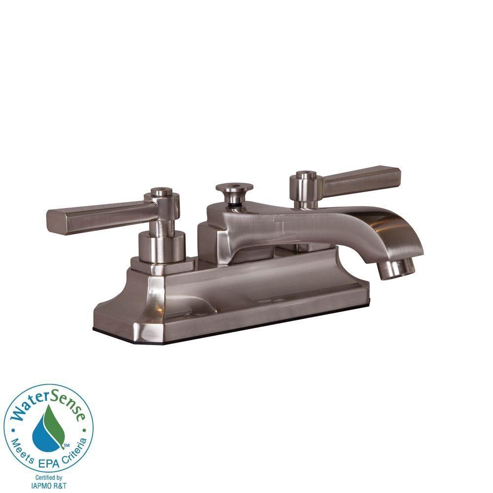 Merveilleux Martha Stewart Living Skylands 4 In. Centerset 2 Handle Low Arc Bathroom  Faucet In Brushed Nickel