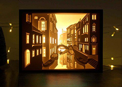 Decorative Shadow Box Papercut Light Boxes 3D Shadow Box Led Light Night Lamp Decorative