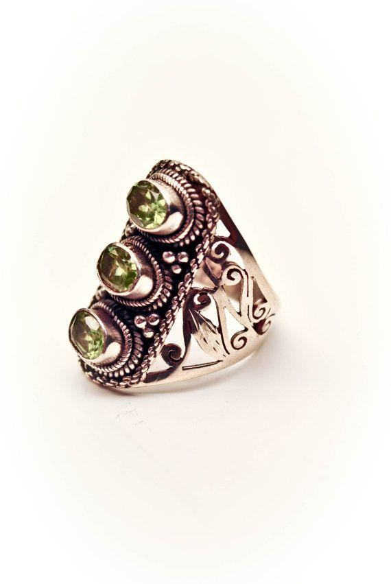 PERUVIAN PERIDOT  Bold Bohemian Peridot Ring by LeighLuna on Etsy