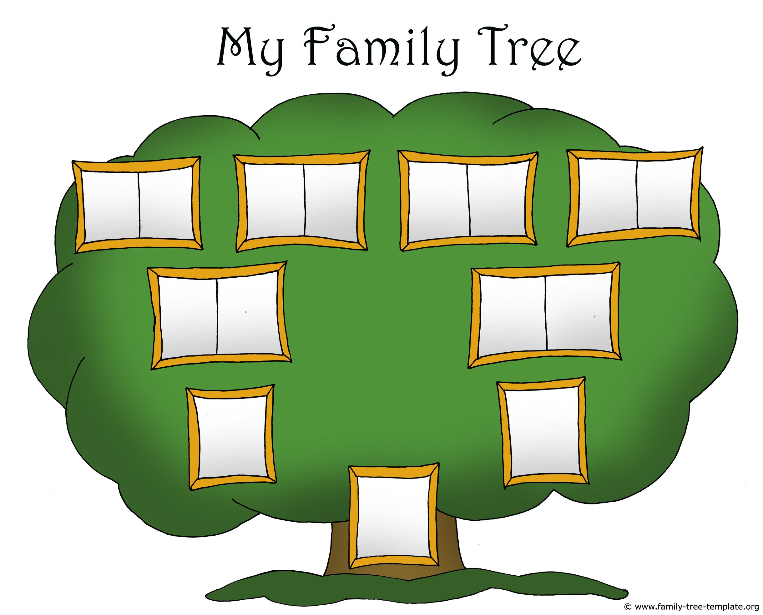 Family Tree Template Chart For Kids With Picture Frames