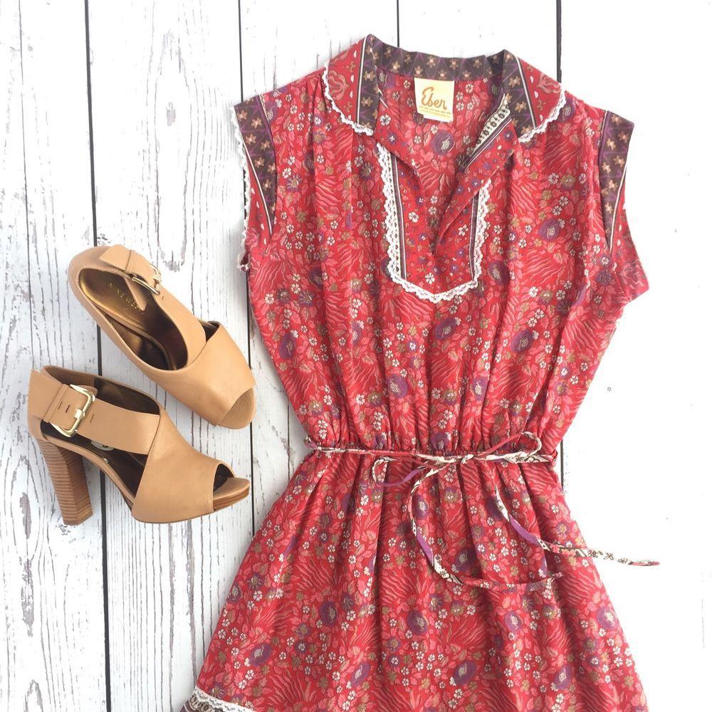 Vintage 70\'s Prairie Peasant Dress Red Floral Boho Hippy EBER San ...