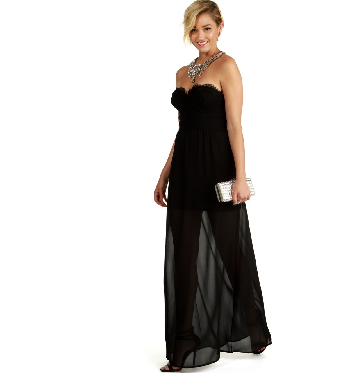 Every girl needs a go to long black dress this strapless dress