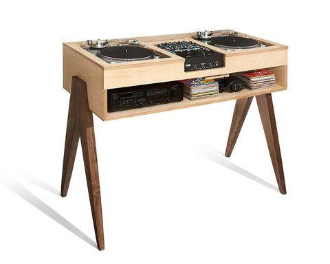 The dj stand travail du bois Épingler et vinyles