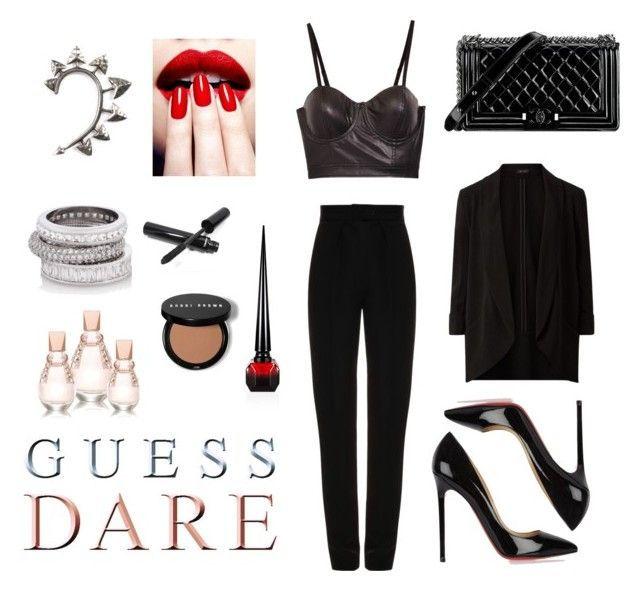 """""""Heat Up Your Valentine's Day with GUESS DARE: Contest Entry"""" by tauriel25 ❤ liked on Polyvore featuring GUESS, Martin Grant, Christian Louboutin, Chanel, Rachel Entwistle, Henri Bendel and DoYouDare"""