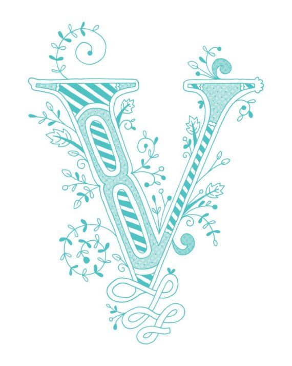 Hand Drawn Monogrammed Print 8x10 The Letter V In By Jenskelley 1500
