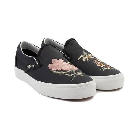 4af5b62821c Sass up your skate style in deluxe fashion with the new Vans Slip On DX  Souvenir Skate Shoe! These funky feline slip ons feature embroidered tigers  and palm ...