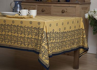 French Country Tablecloths   Luxury Table Linens   Yellow Tablecloth   Hand  Block Printed From Attiser