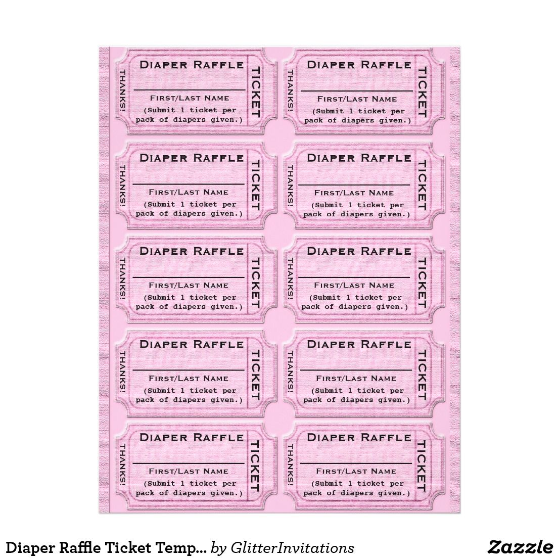 Diaper Raffle Ticket Template Flyer  Ticket Template Raffle