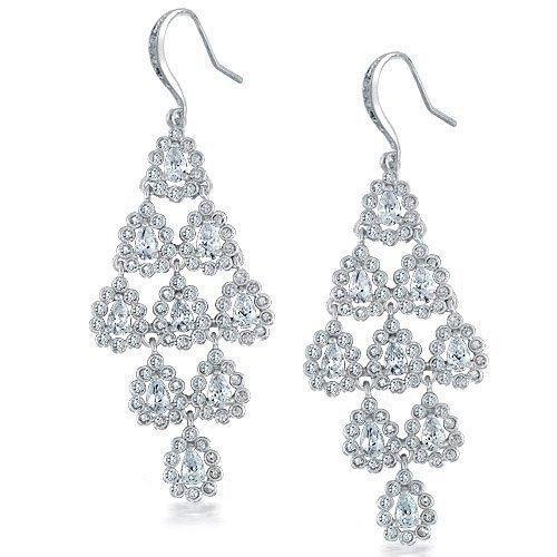 Bling Jewelry CZ Royal Bridal Pave Encrusted Teardrop Chandelier Earrings