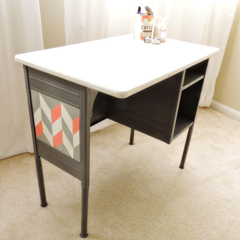 Vintage Metal Office Desk. Vintage Metal Office Chair. School Desk Chair