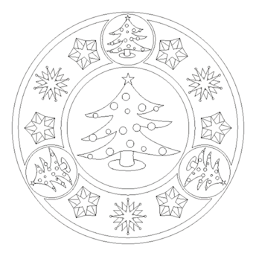 Christmas Tree Mandala Coloring Page Coloring Pages Pinterest
