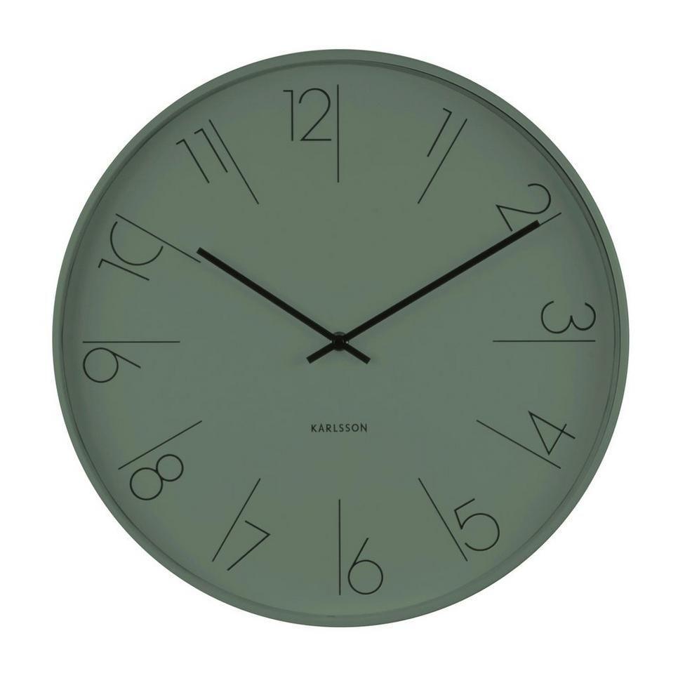 Clock Elegant Numbers O40 Cm Karlsson Klocka Elegant Nummer O40 Cm Gron Svart In 2020 Green Wall Clocks Clock Wall Clock