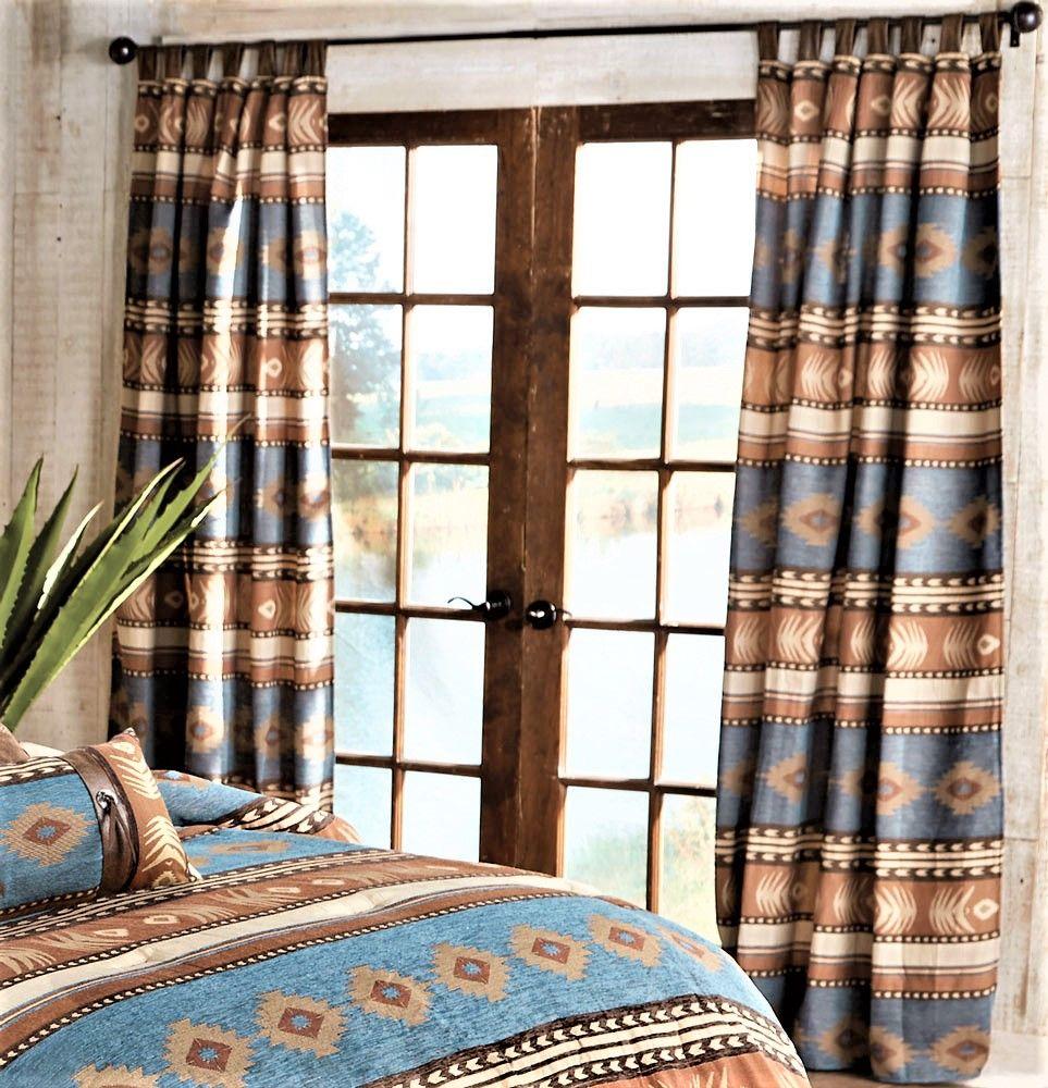 Sierra Blue Southwestern Curtains Southwestern Curtains Western Decor Drapes Curtains