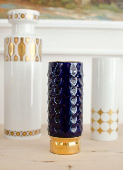 60er Jahre vintage Vase mit echtem Kobalt in strahlendem Blau für