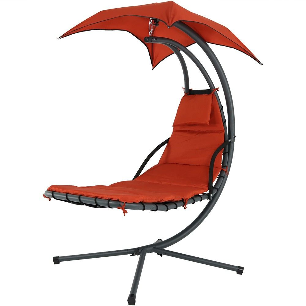 Floating Chaise Lounge Chair With Canopy Umbrella Burnt Orange