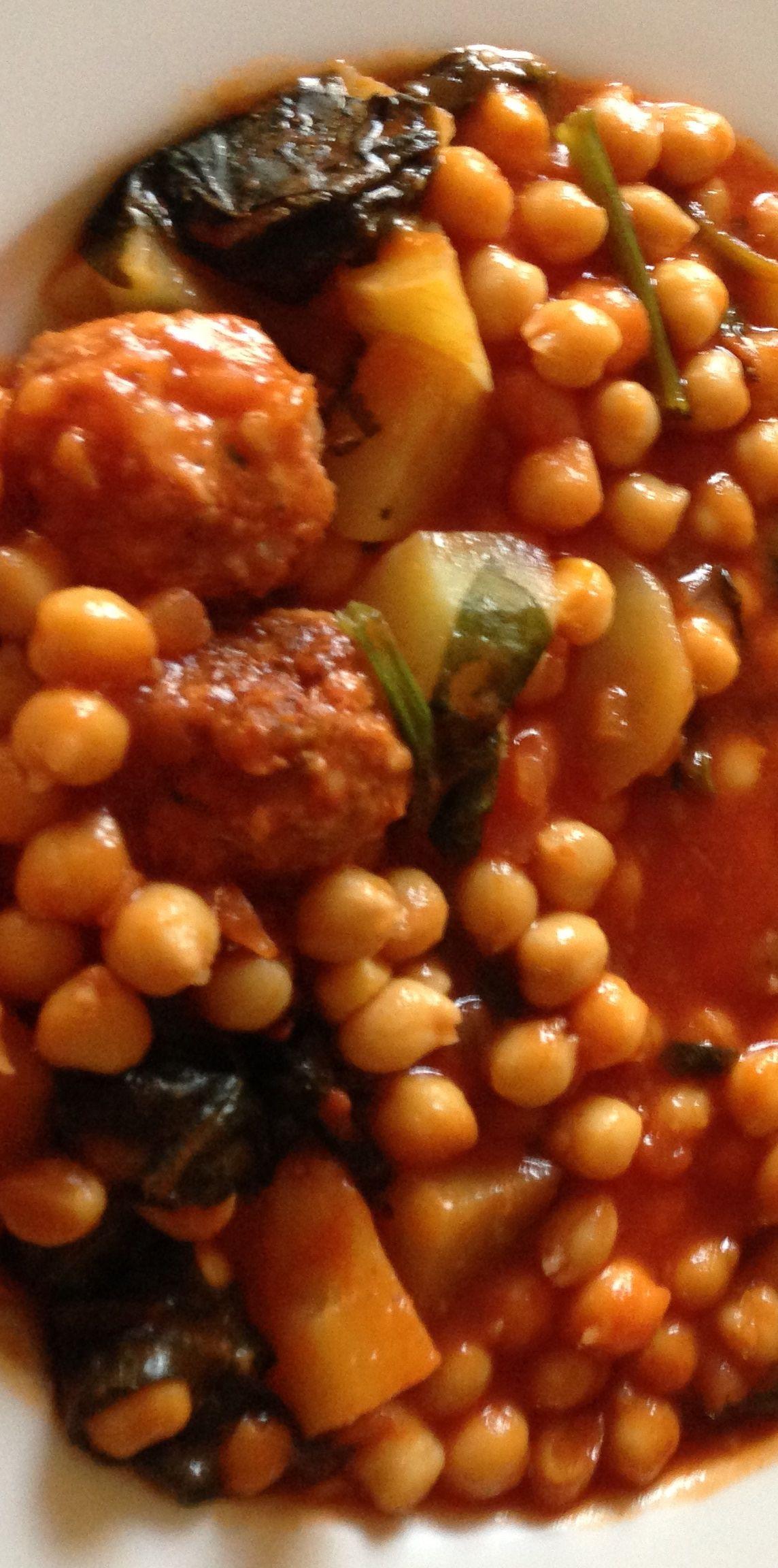 Garbanzos con alb ndigas cocina espa ola pinterest - Albondigas de verdura ...