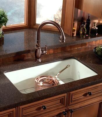 Kohler Smart Divide Enameled Cast Iron Sink in Sea Salt. The ...