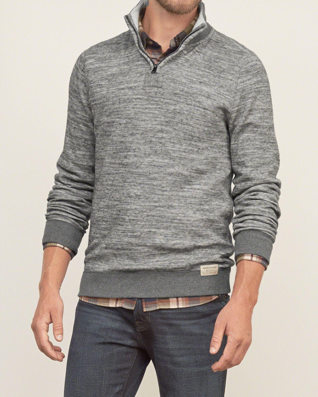 Mens Mockneck Half-zip Sweatshirt | Mens Tops | Abercrombie.com ...