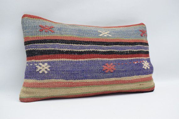 Anatolian kilim pillow throw pillow striped kilim pillow handwoven kilim pillow boho pillow ethnic pillow 12x20 naturel kilim pillow 0296