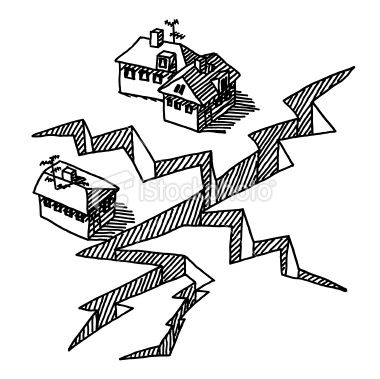 Hand Drawn Vector Drawing Of An Earthquake Setting A Huge Crack