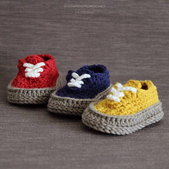 Crochet PATTERN baby Classis sneakers   Patrones de crochet, Crochet ...