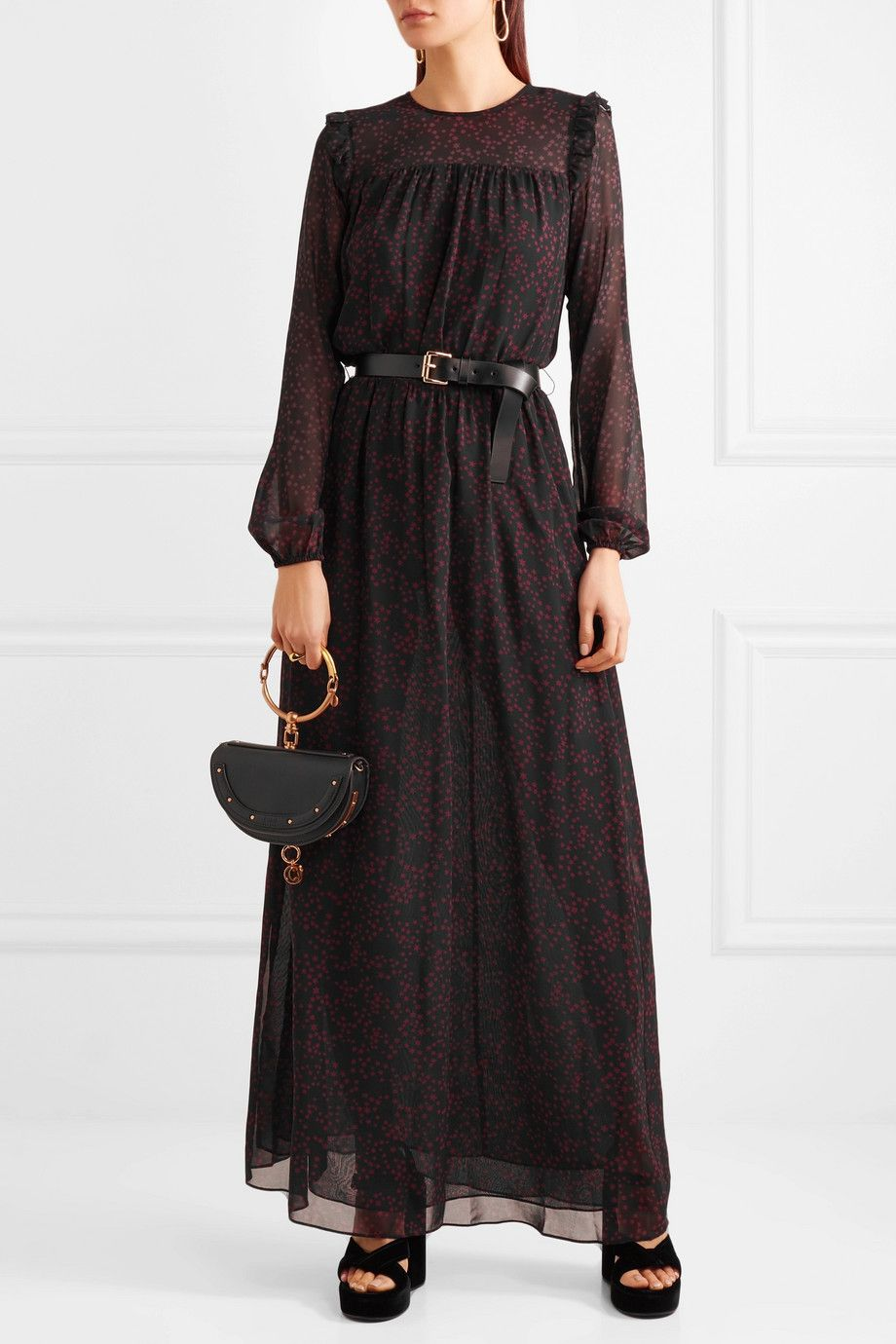 Belted Printed Georgette And Chiffon Maxi Dress - Black Michael Kors
