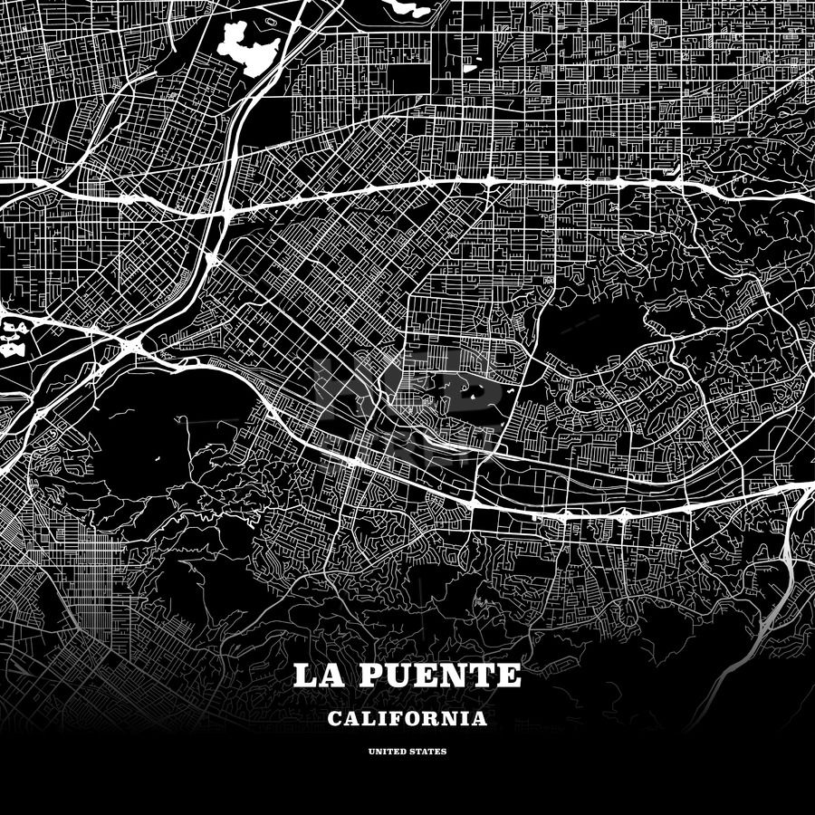 Black map poster template of la puente california united states this black map