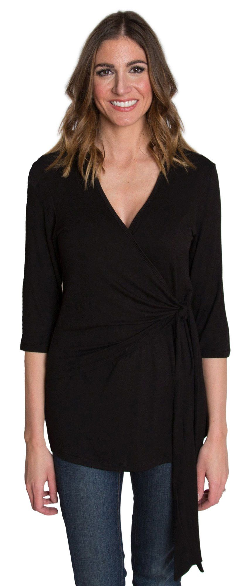 2582a173395 nursing tops - Udderly Hot Mama Whimsical Wrap Front Tie Nursing and  Pumping Top Black Size 2 * Click the photo for added details.