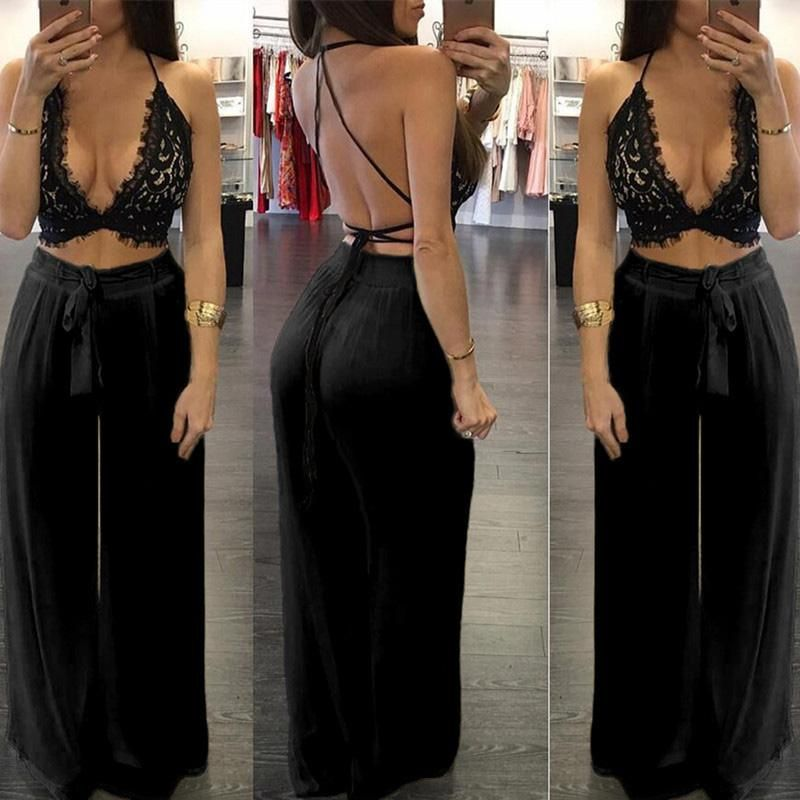 38243925803a Sexy Deep V Neck Women Jumpsuit Summer Two Pieces Set Lace Backless Crop  Top Long Loose