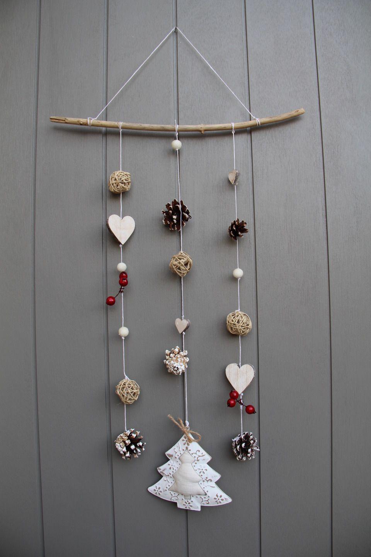 Deco Noel En Bois Naturel mobile esprit hiver/noël avec cœurs en bois, bois flotté