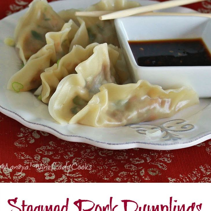 Steamed Pork Dumplings Recipe Appetizers with ground pork, eggs, fresh ginger, low sodium soy sauce, corn starch, hoisin sauce, sesame oil, carrots, garlic, chopped cilantro, wonton wrappers, lime, low sodium soy sauce, chili sauce, sesame oil, scallions