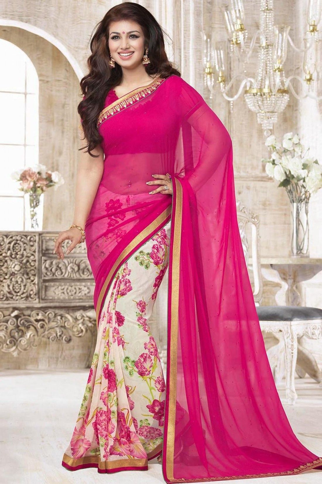 Black colour saree images ayesha takia saree pink and off white faux georgette casual saree