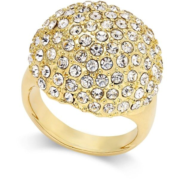 Thalia Sodi Gold-Tone Crystal Pave Dome Ring, ($25) ❤ liked on Polyvore featuring jewelry, rings, gold, pave ring, dome ring, goldtone jewelry, pave jewelry and gold tone jewelry