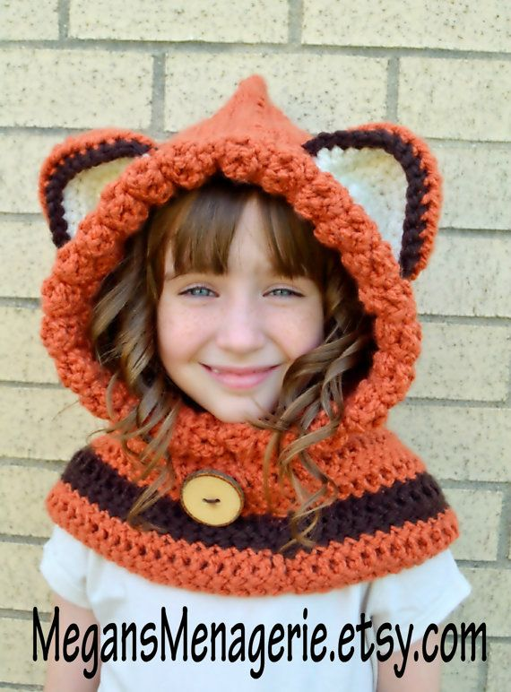 d0d792b8b15 Fox Hat - Fox Hoodie - Fox Cowl - Animal Hat - Hooded Scarf - Crochet Hoodie  - Chunky Crochet Hat -