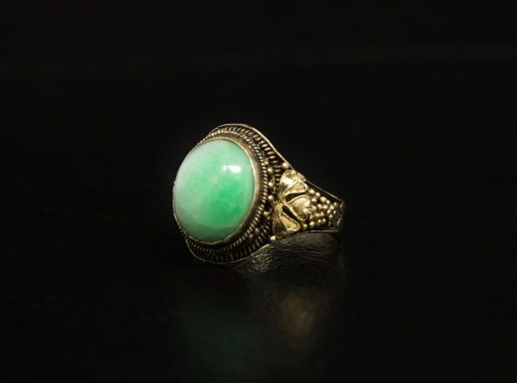 Old Vintage Chinese Jade Vermeil Silver Ring Art Deco by june2six