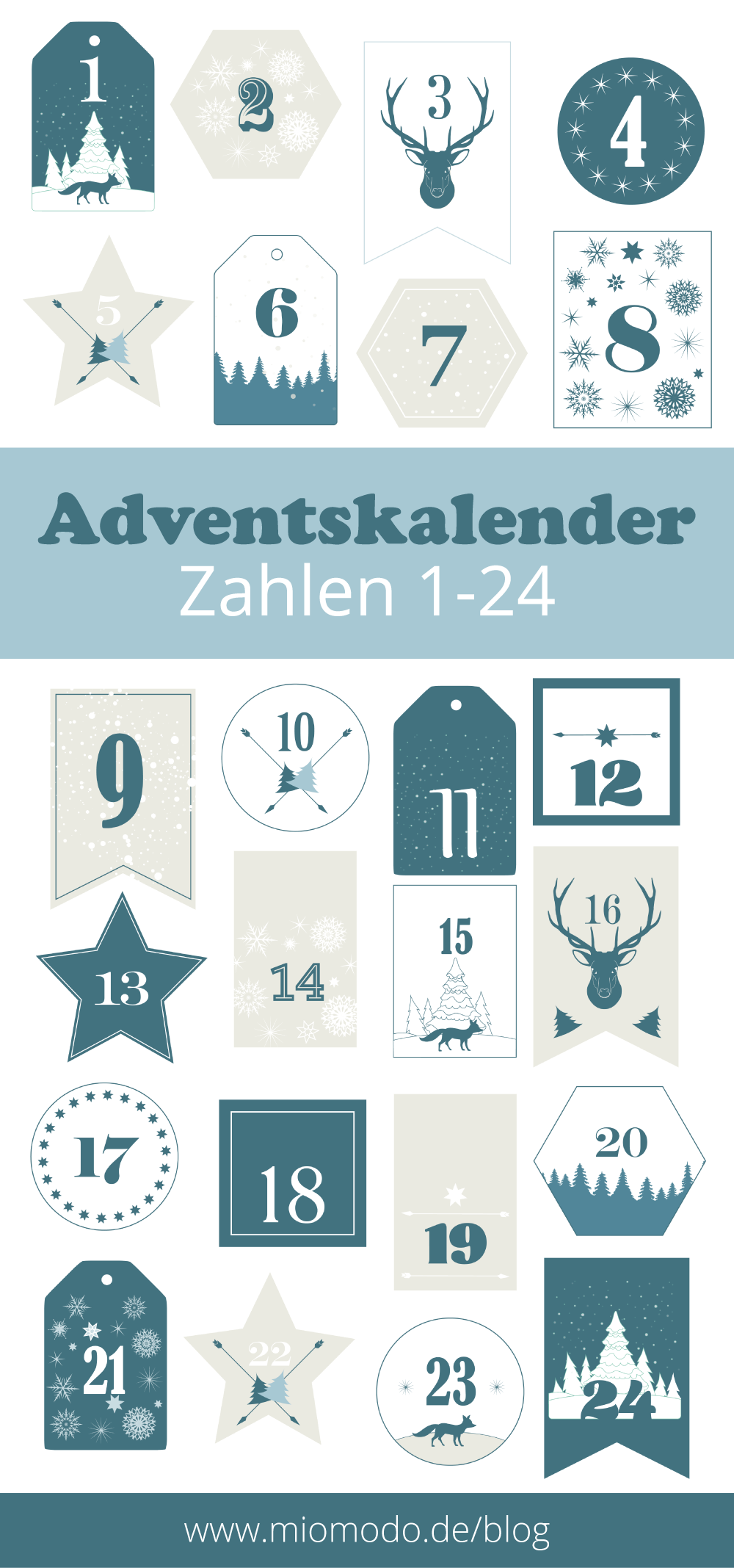 Adventskalender Zahlen 1-24 drucken #adventskalendermann