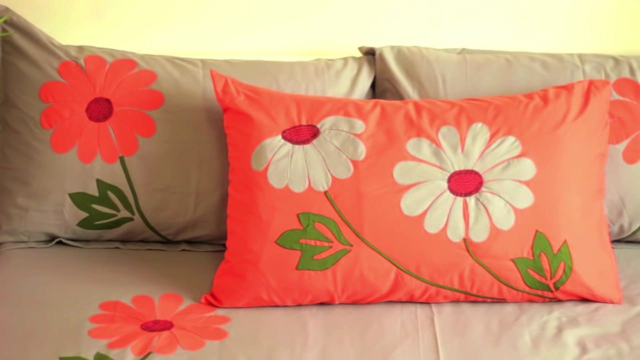 . Applique  Aplic  Work Design  Hand Made Bed Sheet and Pillow Covers