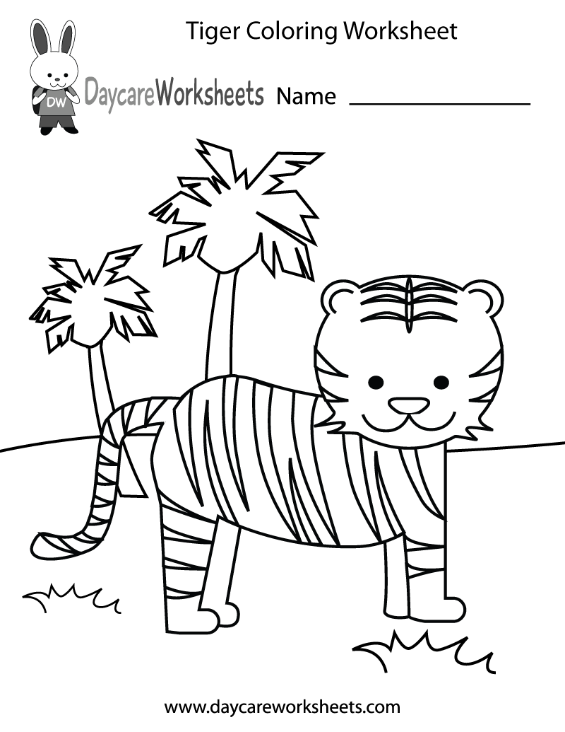 Preschoolers can color in a cute tiger and trees in this