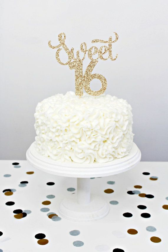Glitter Sweet 16 Cake Topper Handmade Cake Topper By Yummyparty