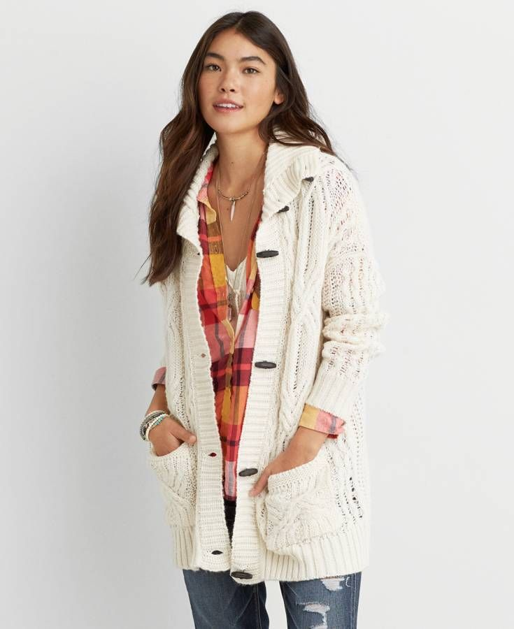 AEO Cable Knit Toggle Cardigan, Women's, Ivory | *Clothing ...