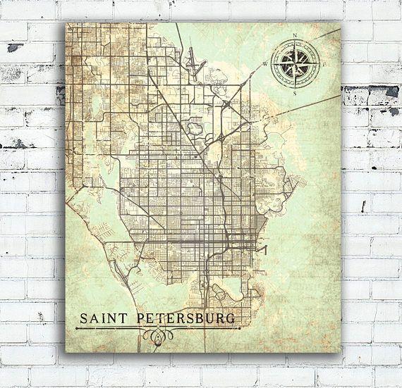 Map St Petersburg Florida.Saint Petersburg Canvas Print Florida Fl Vintage Map St Petersburg