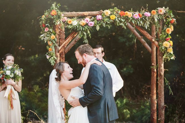 wooden arbor with floral garland