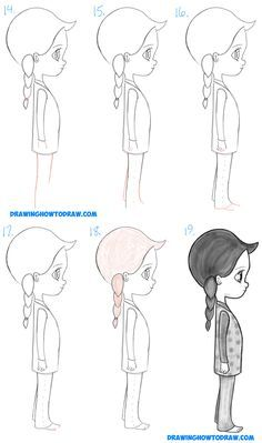 How To Draw A Cute Chibi Manga Anime Girl From The Side View Easy Step By Drawing Tutorial For Kids Beginners