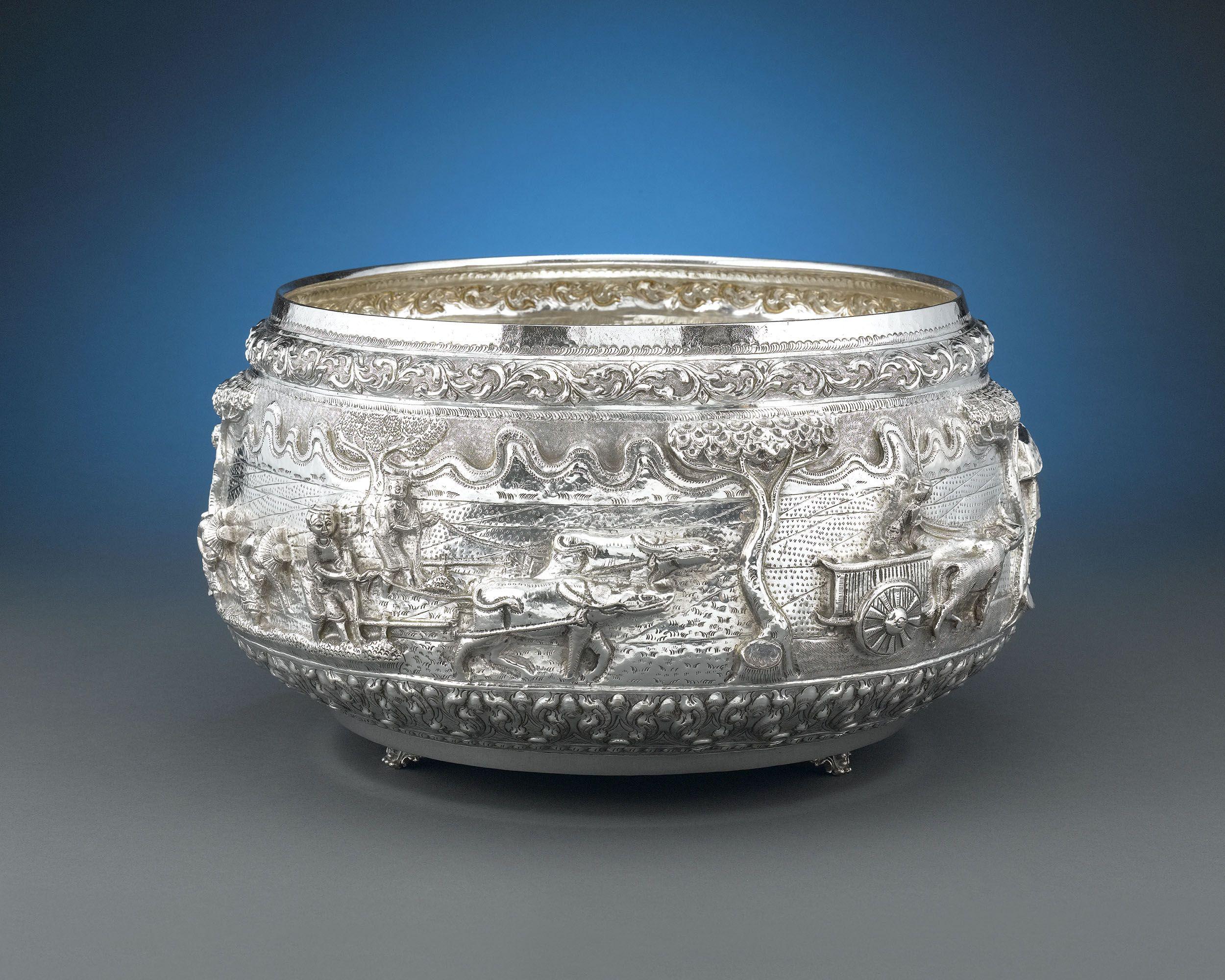 Burmese silver bowl silver bowl silver antique silver
